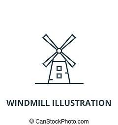 moinho de vento, linear, conceito, símbolo, ilustração, sinal, vetorial, ícone, linha, esboço