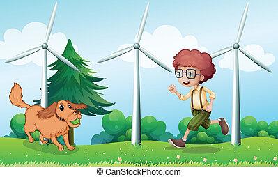 moinho de vento, menino, seu, cão, tocando