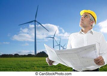moinho de vento, perícia, plano, arquiteta, sênior, engenheiro