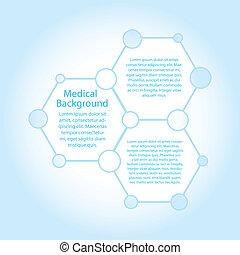 moléculas, (vector), espaço, abstratos, fundo, cópia, médico