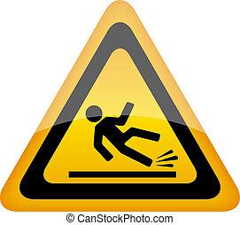 molhados, sinal aviso, chão
