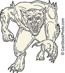 mono, executando, lobisomem, linha, monstro