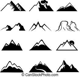 monocromático, ícones, vetorial, montanha