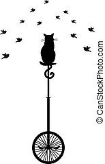 monocycle, pássaros, gato
