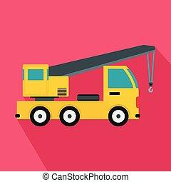 montado, estilo, ícone, caminhão, apartamento, guindaste