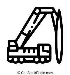 montado, guindaste, esboço, caminhão, vetorial, ícone, ilustração