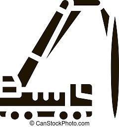 montado, guindaste, vetorial, caminhão, ilustração, ícone, glyph