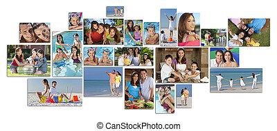 montagem, feliz, estilo vida, família, dois, pais, crianças, &