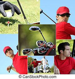 montagem, golfe, themed