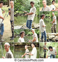 montagem, homens, dois, pesca
