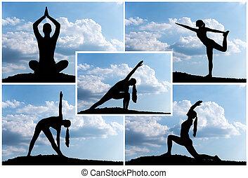 montagem, ioga