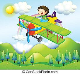 montando, avião, jovem, coloridos, homem