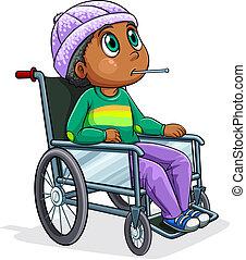 montando, cadeira rodas, homem preto
