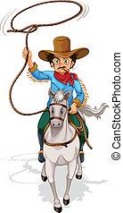 montando, cavalo, homem velho