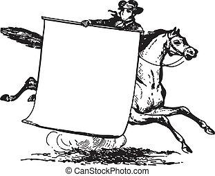 montando, cavalo, homem