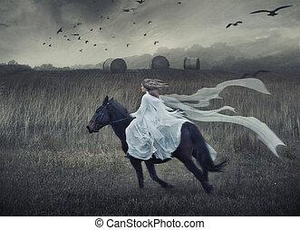 montando, cavalo, romanticos, beleza, jovem