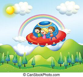 montando, crianças, três, nave espacial