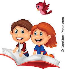 montando, livro, feliz, crianças, caricatura