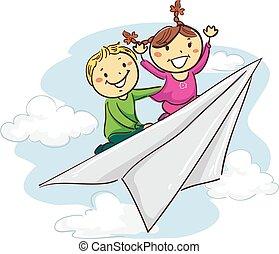 montando, papel, vara, avião, crianças
