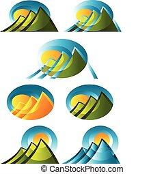 montanha, abstratos, ícones