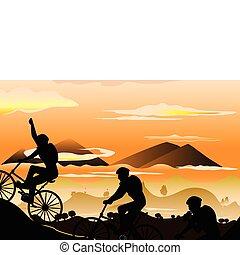 montanha andando bicicleta
