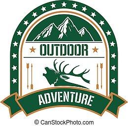 montanha, clube, veado, desenho, aventura, emblema