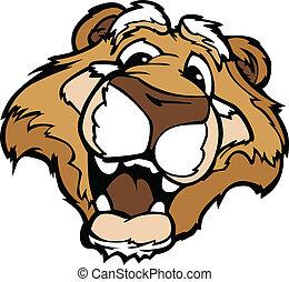 montanha, gráfico, caricatura, puma, leão, vetorial, sorrindo, ou, mascote