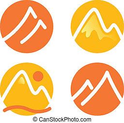 montanha, jogo, ícones, ), (, isolado, amarela, laranja, branca