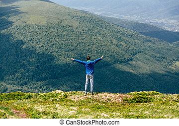 montanha, natural, verão, conceito, liberdade, paisagem