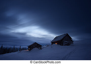 montanha, noturna, paisagem, vila