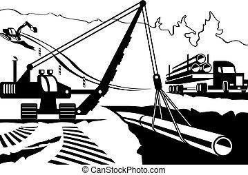 montanha, oleoduto, construção, através