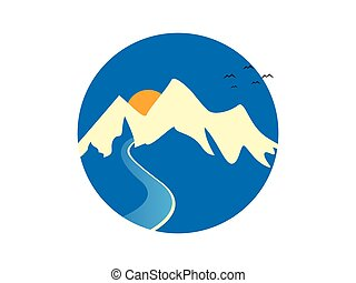 montanha, rio, logotipo