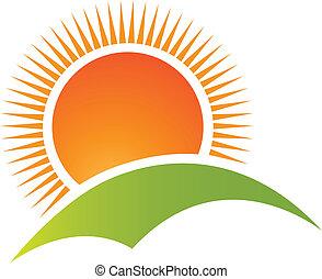 montanha, sol, logotipo, vetorial, colina