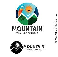 montanha, sol, vetorial, modelo, logotipo, brid