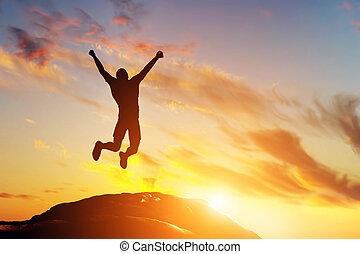 montanha, sucesso, alegria, pular, pico, homem, feliz, sunset.