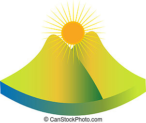 montanha, verde, logotipo