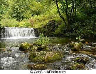 montanha, waterfall., rio, stream.
