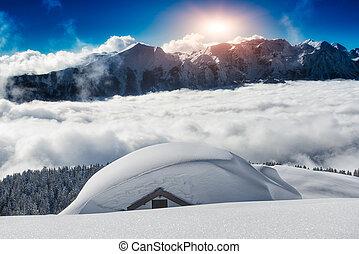 montanhas altas, coberto, neve, casa