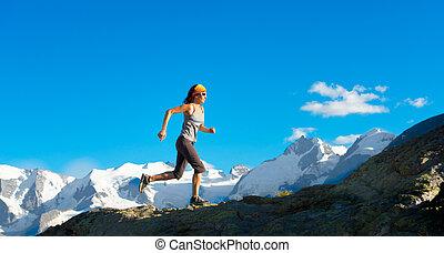 montanhas altas, corridas, menina