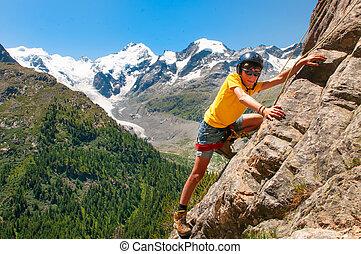 montanhas, alto, curso, escalando, durante, menina