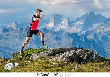 montanhas, atleta, alto, trens, skyrunner, homem