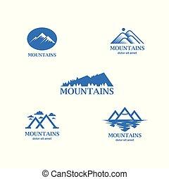 montanhas azuis, abstratos, minimalistic, logotipo, set.