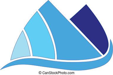 montanhas azuis, companhia, vetorial, desenho, ícone