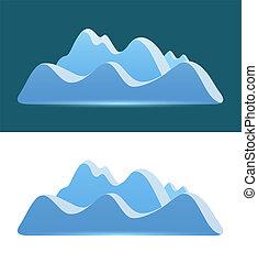 montanhas azuis, -, escuro, experiência., logotipo, branca