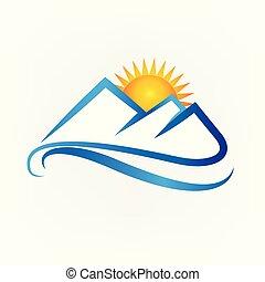 montanhas azuis, pôr do sol, logotipo