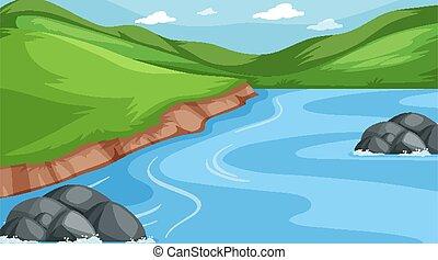 montanhas, cena, fundo, rio