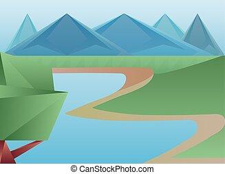montanhas, desenho, rio, árvore, polygonal, vetorial, paisagem