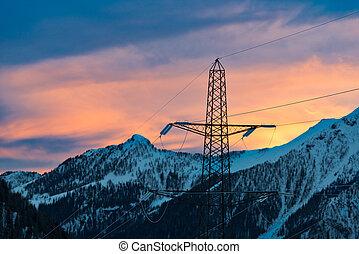 montanhas, electricidade, alto, polos, voltagem, transporte