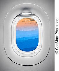 montanhas, janela avião