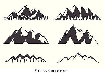 montanhas, jogo, ícones, isolado, experiência., branca